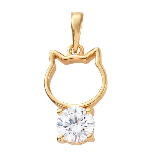 J Francis 14K Gold Overlay Sterling Silver (Rnd) Cat Pendant Made with SWAROVSKI ZIRCONIA