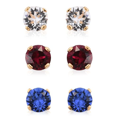 Set of 3 - J Francis Crystal from Swarovski - White Colour Crystal (Rnd), Ruby and Sapphire Colour Crystal Stud Earrings (with Push Back) in 14K Gold Overlay Sterling Silver