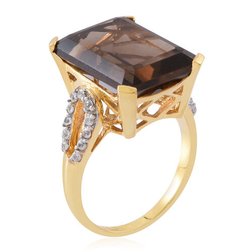 Brazilian Smoky Quartz (Oct 14.50 Ct), Natural White Cambodian Zircon Ring in 14K Gold Overlay Sterling Silver 15.000 Ct. Silver wt 5.65 Gms.