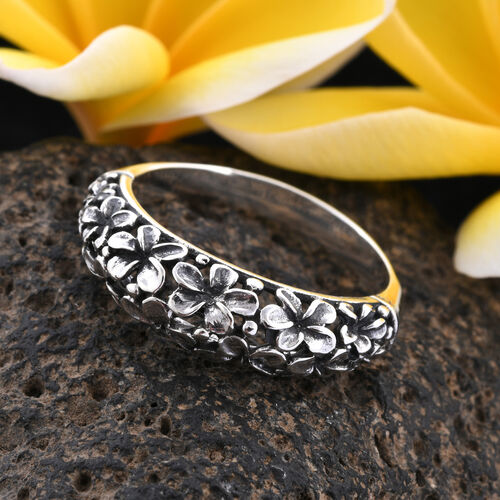 Royal Bali Collection - Sterling Silver Floral Band Ring, Silver wt 3.60 Gms