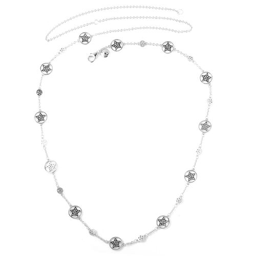 RACHEL GALLEY Rhodium Overlay Sterling Silver Shimmer Star Station Necklace (Size 30), Silver wt 15.36 Gms.