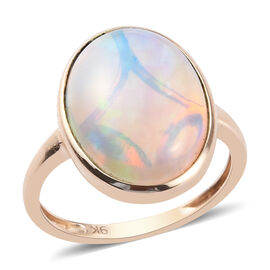 9K Yellow Gold AA Ethiopian Welo Opal (OV16x12) Ring 5.50 Ct.