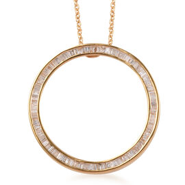 Diamond (Bgt) Circle Pendant with Chain (Size 20) in 14K Gold Overlay Sterling Silver 1.00 Ct.
