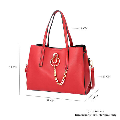 Lock Soul Handbag with Detachable and Adjustable Shoulder Strap (Size 31x13x23 Cm) - Burgundy