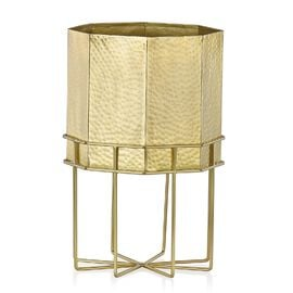 Home Decor - Hammered Octagon Shaped Fire Pit or Planter with 8 Legs Stand (Size 40x26 Cm) - Golden