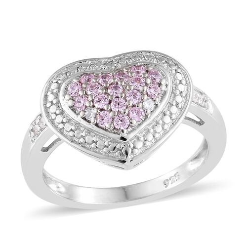 J Francis - Platinum Overlay Sterling Silver (Rnd) Heart Ring Made with Pink and White SWAROVSKI ZIR