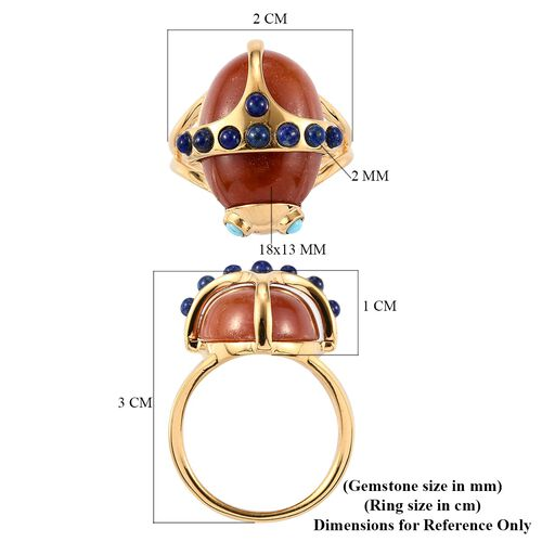 Sundays Child - Red Jade, Arizona Sleeping Beauty Turquoise and Lapis Lazuli Beetle Ring in 14K Gold Overlay Sterling Silver 14.26 Ct.