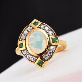 Ethiopian Welo Opal, Kagem Zambian Emerald and Natural Cambodian Zircon Ring in 14K Gold Overlay Ste