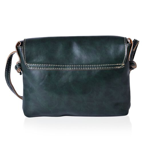Dark Green Colour Crossbody Bag with Shoulder Strap (Size 22x18.5x4 Cm)