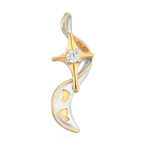 J Francis Platinum and Yellow Gold Overlay Sterling Silver Pendant Made with SWAROVSKI ZIRCONIA