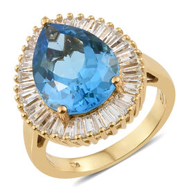 11 Ct Marambaia Topaz and Natural Cambodian Zircon Halo Ring in Gold Plated Silver 5.60 Grams
