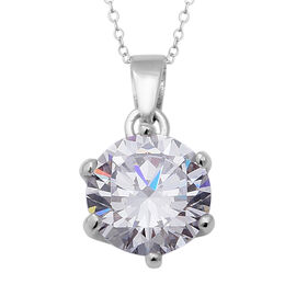 ELANZA Swiss Star Simulated Diamond (Rnd) Pendant With Chain (Size 18) in Rhodium Overlay Sterling S