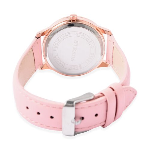 STRADA Japanese Movement White Austrian Crystal Studded Flower Bee Dial Water Resistant Watch with Pink Colour Strap