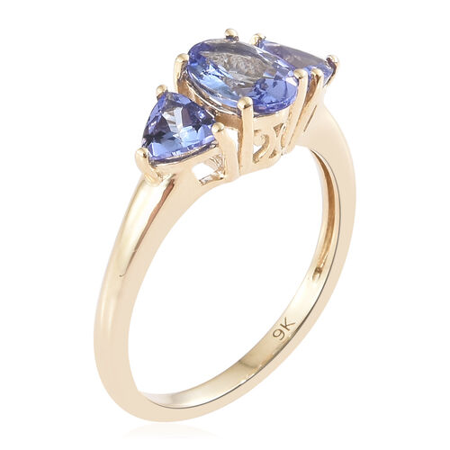 Tanzanite (1.50 Ct) 9K Y Gold Ring  1.500  Ct.
