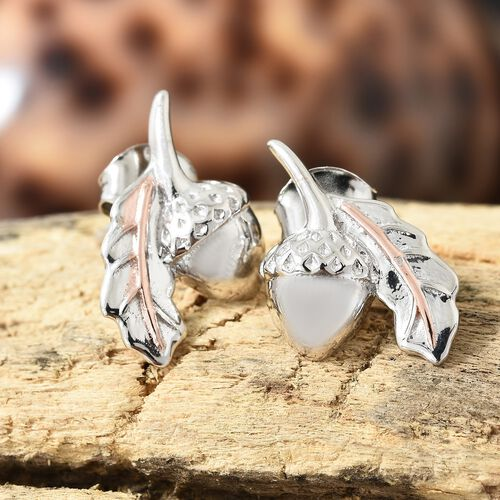 Acorn and Oak Leaf Platinum and Rose Gold Overlay Sterling Silver Stud Earrings (with Push Back)