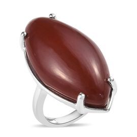 20.50 Ct Red Jasper Solitaire Ring in Silver
