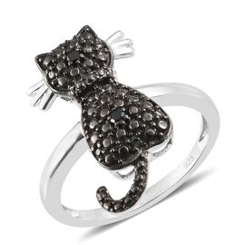 Black Diamond Cat Ring in Black and Platinum Overlay Sterling Silver