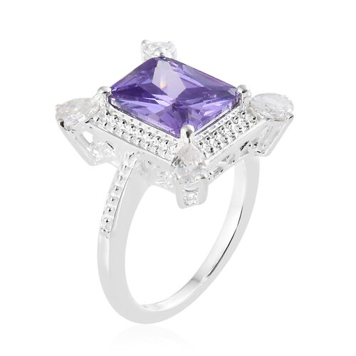 ELANZA Simulated Amethyst (Oct) ,Simulated Diamond Ring in Sterling Silver, Silver wt 4.01 gms