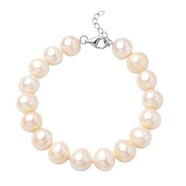 White Freshwater Pearl  Necklace (Size 7.5 with 1 inch Extender) in Rhodium Overlay Sterling Silver