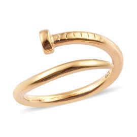 Designer Inspired- Diamond (Rnd) Adjustable Nail Ring in 14K Gold Overlay Sterling Silver
