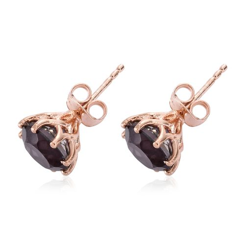 Colour Change Alexandrite Quartz (Rnd) Stud Earrings (with Push Back) in Rose Gold Overlay Sterling Silver 4.250 Ct.