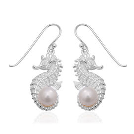 Freshwater Pearl Seahorse Solitaire Hook Earrings in Sterling Silver 7.16 Grams