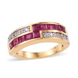 African Ruby (1.15 Ct),Cambodian Zircon 14K Gold Overlay Sterling Silver Ring  1.750  Ct.