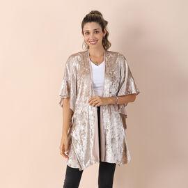 Velvet Kimono with Falbala Sleeve - Off White