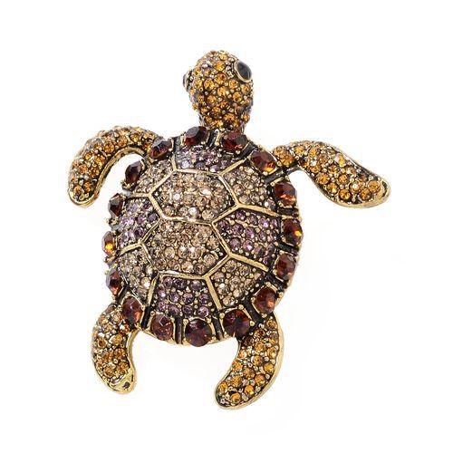 Multi Colour Austrian Crystal (Rnd) Turtle Brooch in Gold Tone