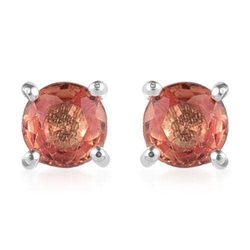 Orange Sapphire Stud Earrings (with Push Back) in Sterling Silver