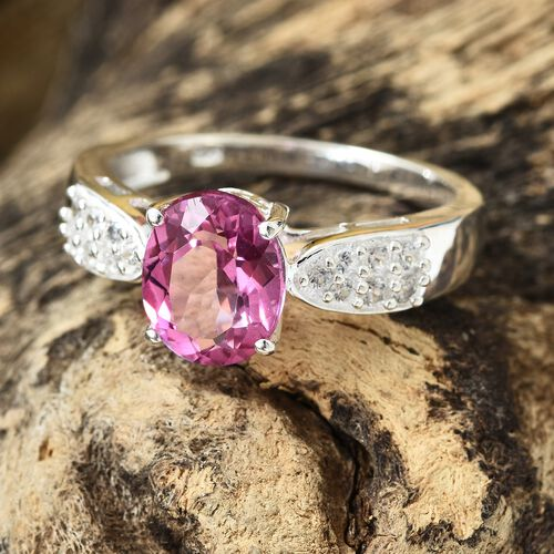 Mystic Pink Coated Topaz (Ovl 3.20 Ct), Natural Cambodian Zircon Ring in Sterling Silver 3.500 Ct.