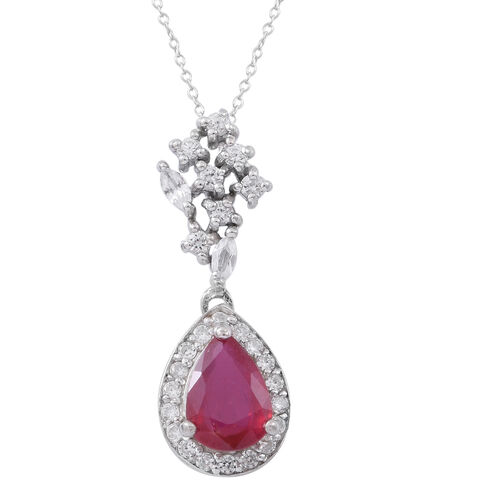 African Ruby (Pear 2.25 Ct), Natural White Cambodian Zircon Pendant with Chain in Rhodium Plated Sterling Silver 3.250 Ct.