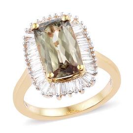 ILIANA 4.25 Ct Diaspore and Diamond Halo Ring in 18K Gold 5 Grams
