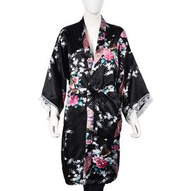 Black and Multi Colour Kimono with Peacock and Peony Pattern (Size 65x100 Cm)