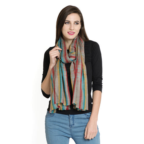 100% Cashmere Wool Checks Pattern Blue, Green, Yellow and Multi Colour Scarf with Fringes (Size 200x70 Cm)