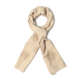 New Zealand Super Fine Merino Wool and Silk Beige Colour Scarf Hand Stitched Sequin Work (Size 200x7