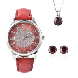 3 Piece Set - STRADA Japanese Movement Water Resistant Watch with Red Strap, Simulated Garnet Studde