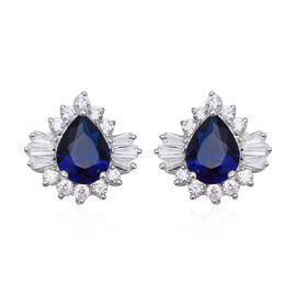 Blue Cubic Zirconia and Simulated Diamond Halo Stud Earrings in Rhodium Plated Sterling Silver