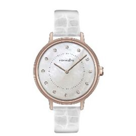 Close Out Deal- ETERNITY Swarovski Studded Watch in Rose Gold Tone with White Strap