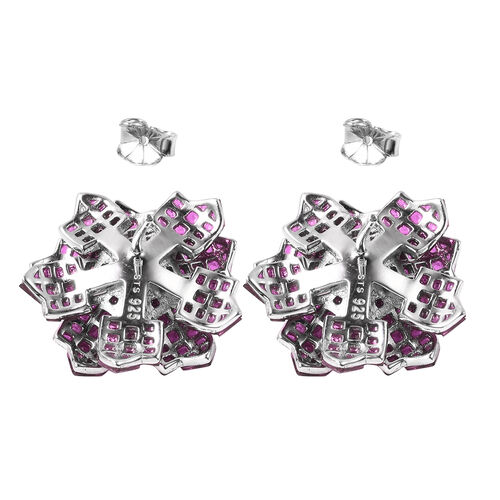 Lustro Stella - Mystery Setting Simulated Ruby and Simulated Diamond Floral Stud Earrings (with Push Back) in Rhodium Overlay Sterling Silver