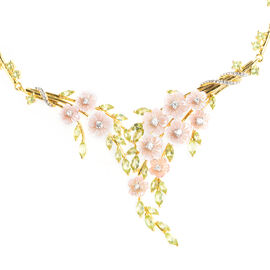 Jardin Collection-Pink Mother of Pearl, Hebei Peridot and Natural White Cambodian Zircon Floral Neck