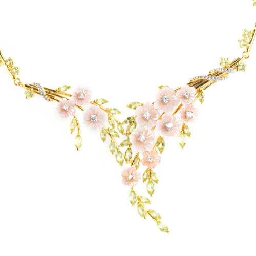 Jardin Collection Mother of Pearl and Multi Gemstones Floral Necklace in Sterling Silver 16.38 Gms