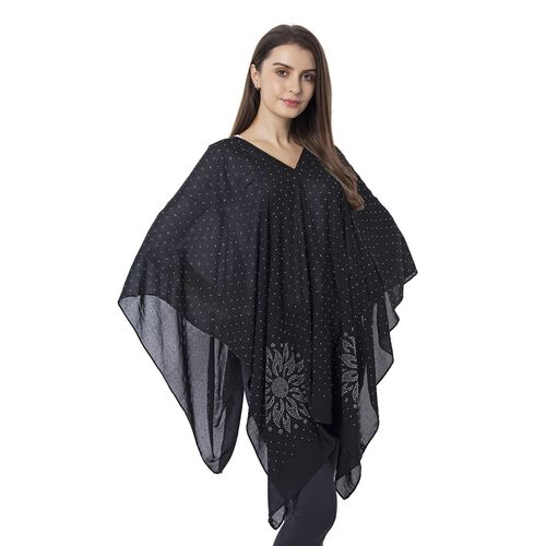 Black Colour Floral Pattern Crystal Embellished Poncho (Size 80.01x99.06 Cm)