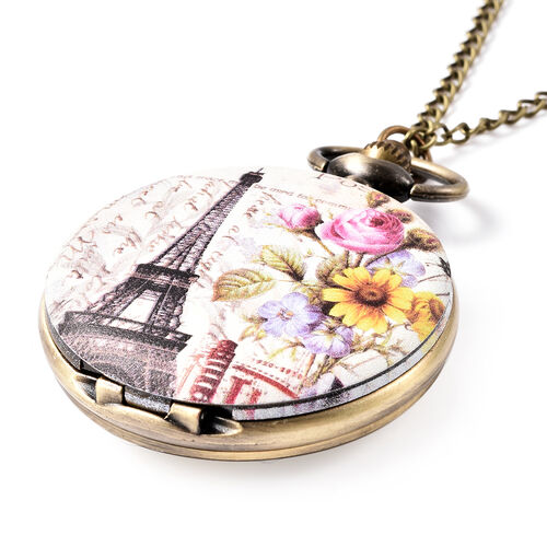 STRADA Japanese Movement Eiffel Tower Pattern Pocket Watch with Chain (Size 31) in Antique Bronze Plated