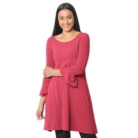 Raspberry Colour Flared Dress