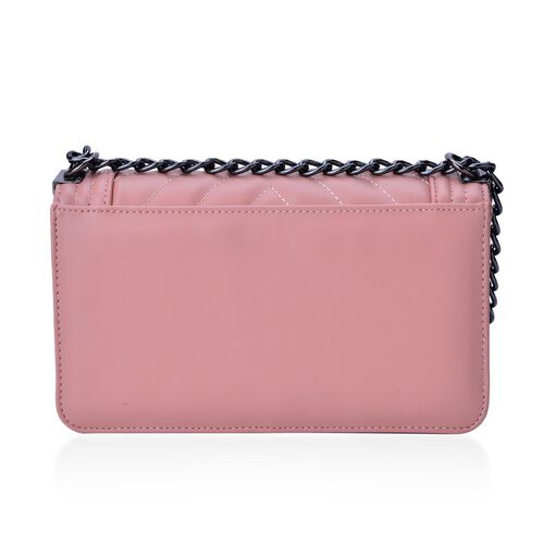 Pink Colour Crossbody Bag with Shoulder Strap (Size 24.5x14x7 Cm)