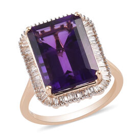 Collectors Edition 9K Yellow Gold Lusaka Amethyst (Oct 14x10mm) and Diamond (0.50cts) Ring 7.50 Ct.