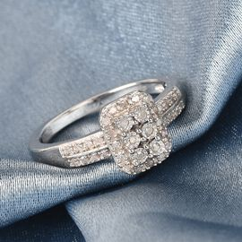 GP Diamond and Blue Sapphire Ring in Platinum Overlay Sterling Silver