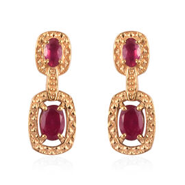 African Ruby Dangle Earrings (with Push Back) in 14K Gold Overlay Sterling Silver 2.00 Ct.