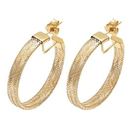 Italian Made 9K Yellow Gold Mesh Hoop Earrings (with Push Back)